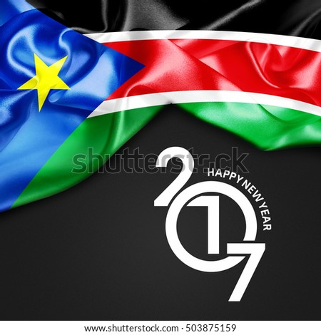 South Sudan Happy New year 2017 Abstract Flag background