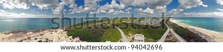 South Tip of Cozumel Island, Mexico 360 Degree as viewed from the top of a Light House. - stock photo