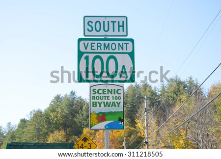 South Vermont road sign. Scenic route 100 by way - stock photo