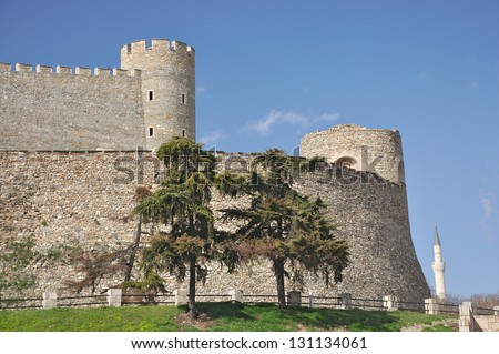 South walls of the Kale fortress in  Skopje - stock photo