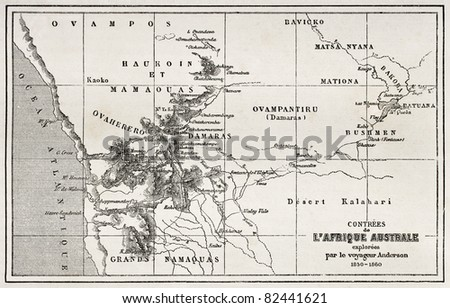 South western Africa old map. Created by Erhard and Bonaparte, published on Le Tour du Monde, Paris, 1860 - stock photo