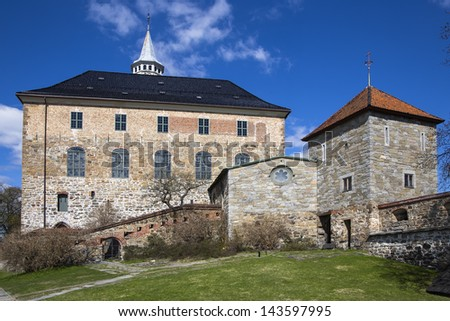 South Wing Akershus Castle and Maiden Tower. Oslo. Norway - stock photo