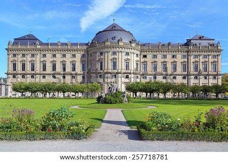 South wing of the Wurzburg Residence, view from the South Garden, Wurzburg, Germany - stock photo