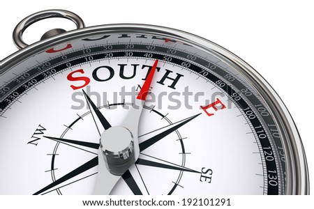 south word indicated by compass isolated on white background