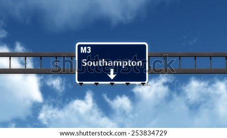 Southampton United Kingdom Highway Road Sign 3D Illustration - stock photo