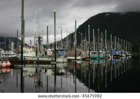 Southeast Alaskan Harbor - stock photo