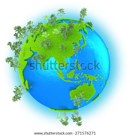 Southeast Asia and Australia on grassy planet Earth with trees isolated on white background - stock photo