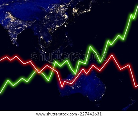 Southeast Asia map stock market chart business. Elements of this image furnished by NASA. - stock photo