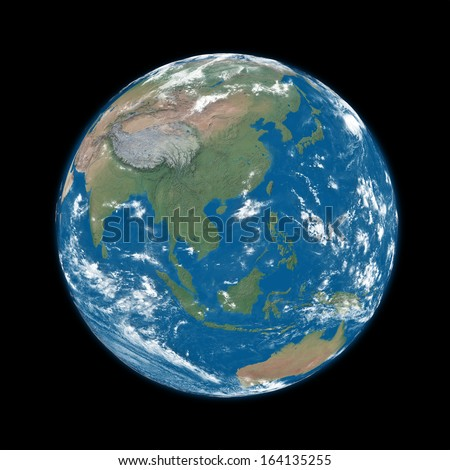 Southeast Asia on blue planet Earth isolated on black background. Elements of this image furnished by NASA. - stock photo