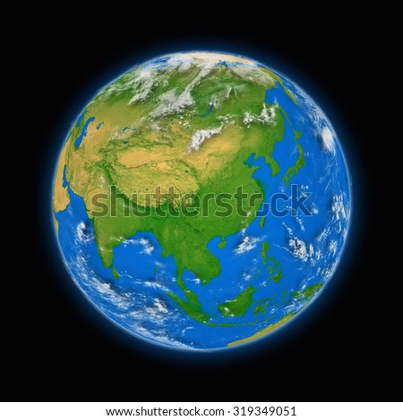 Southeast Asia on blue planet Earth isolated on black background. Highly detailed planet surface. Elements of this image furnished by NASA. - stock photo