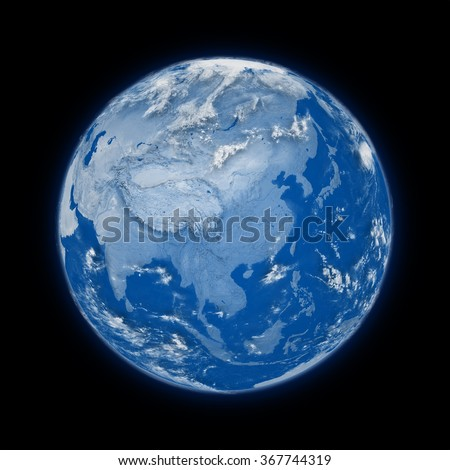 Southeast Asia on blue planet Earth isolated on black background. Highly detailed planet surface. Elements of this image furnished by NASA.