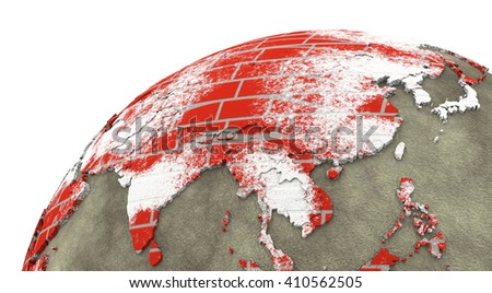 Southeast Asia on brick wall model of planet Earth with continents made of red bricks and oceans of wet concrete. Concept of global construction. 3D rendering. - stock photo