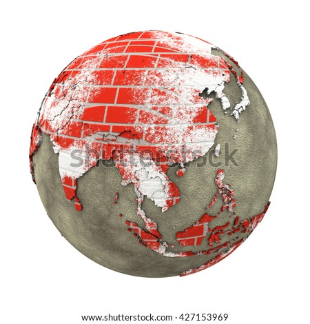 Southeast Asia on brick wall model of planet Earth with continents made of red bricks and oceans of wet concrete. Concept of global construction. 3D illustration isolated on white background. - stock photo