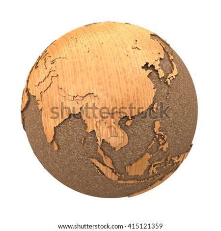 Southeast Asia on 3D model of wooden planet Earth with oceans made of cork and wooden continents with embossed countries. 3D illustration isolated on white background. - stock photo