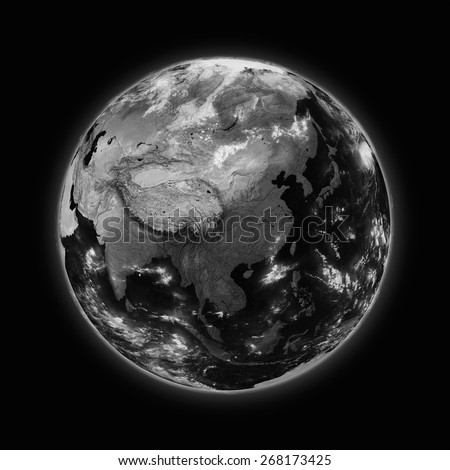 Southeast Asia on dark planet Earth isolated on black background. Highly detailed planet surface. Elements of this image furnished by NASA.