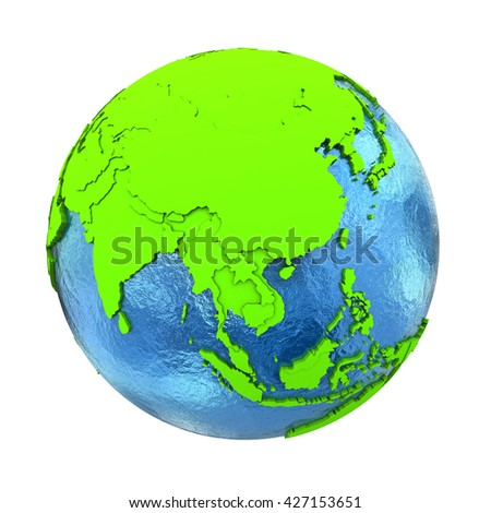 Southeast Asia on elegant green 3D model of planet Earth with realistic watery blue ocean and green continents with visible country borders. 3D illustration isolated on white background. - stock photo