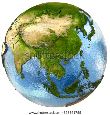 Southeast Asia on highly detailed planet Earth with embossed continents and country borders. Isolated on white background. Elements of this image furnished by NASA. - stock photo