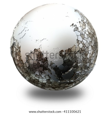 Southeast Asia on metallic model of planet Earth. Shiny steel continents with embossed countries and oceans made of steel plates. 3D illustration isolated on white background with shadow.