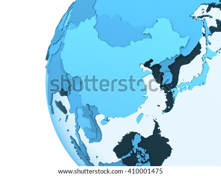 Southeast Asia on translucent model of planet Earth with visible continents blue shaded countries. 3D rendering. - stock photo