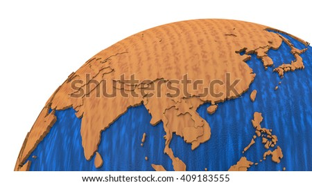 Southeast Asia on wooden model of planet Earth with embossed continents and visible country borders. 3D rendering. - stock photo