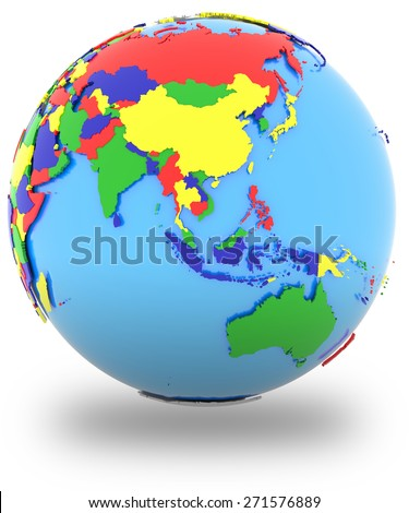 Southeast Asia, political map of the world with countries in four colors, isolated on white background.  - stock photo