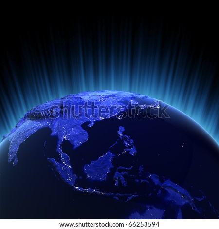 Southeast Asia volume 3d render. Maps from NASA imagery - stock photo