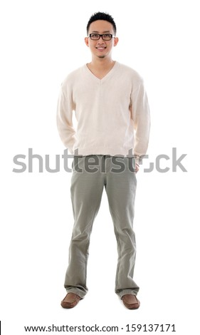 Southeast Asian Chinese man. Front view full length of Asian male isolated on white background. - stock photo