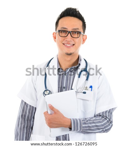 Southeast Asian medical doctor holding a tablet computer, smiling isolated white background - stock photo