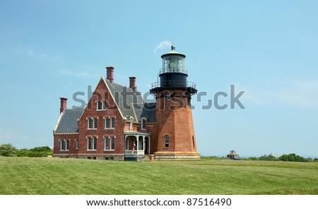 Southeast Lighthouse, Block Island, Rhode Island. - stock photo