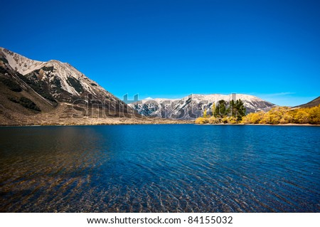 southern alpine alps mountain range at Lake Pearson Arthur's pass National Park New Zealand