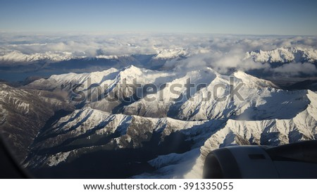 Southern Alps mountain range in Queenstown, New Zealand