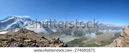 Southern Alps panoramic view in Aoraki National park, New Zealand. - stock photo