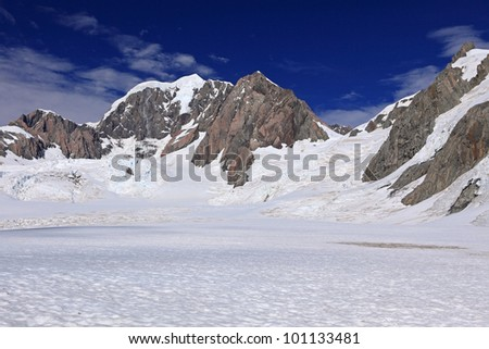 Southern Alps, West Coast, South Island, New Zealand. - stock photo