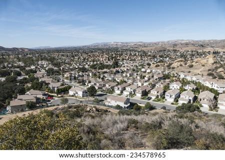 Southern California bedroom community suburban sprawl near Los Angeles.   - stock photo