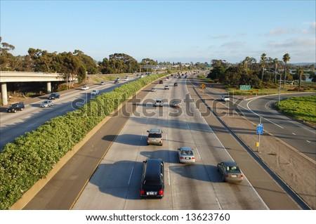 Southern California freeway; San Diego, California - stock photo