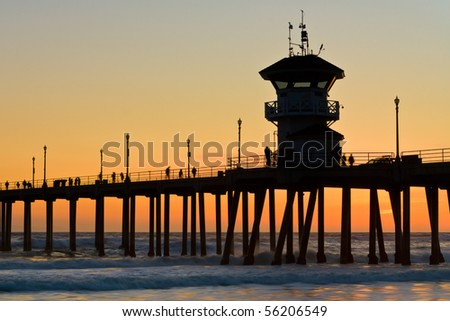 Southern California pier in sunset - stock photo