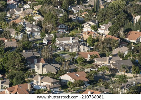 Southern California suburban housing track in Ventura County's Simi Valley.   - stock photo