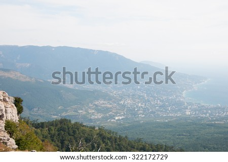 Southern coast of Crimea, view from the top of Ai-Petri mountain - stock photo