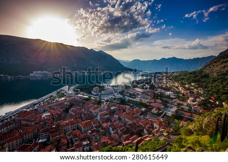 Southern Europe'??s deepest fjord, Kotor bay, Montenegro. City Kotor in Kotor Bay, Montenegro. Seen from path to fortress above cit / Bay of Kotor - stock photo