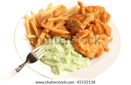 Southern fried chicken, french fries smothered with gravy and creamy coleslaw dinner on a white background - stock photo