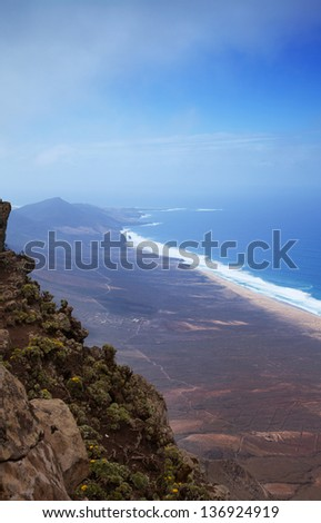 Southern Fuerteventura, Jandia, view from the highest point of the island, Pico de Zarza, towards Cofete village and Beach - stock photo