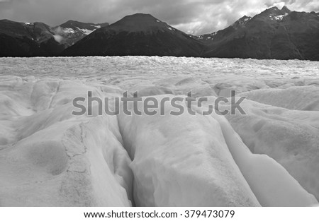 Southern Icecap and Mountains in a glacial landscape, Southern Patagonia, Argentina - stock photo