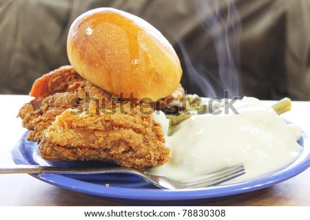 Southern meal of fried chicken and potatoes - stock photo