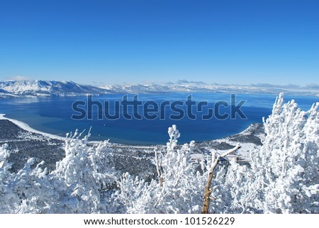 Southern point of lake tahoe - stock photo