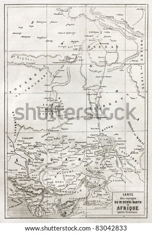 Southern Sahara and central Africa old map. Created by Erhard, published on Le Tour du Monde, Paris, 1860 - stock photo