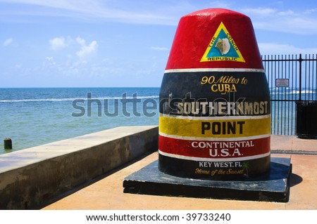 Southernmost point in continental USA in key west,florida - stock photo