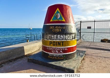 Southernmost Point marker, Key West, Florida, USA - stock photo