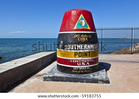 Southernmost Point marker, Key West, Florida, USA - stock photo