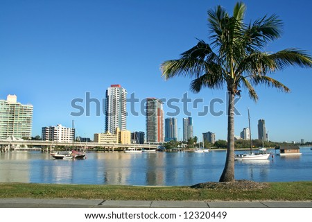 Southport on the Gold Coast Australia seen across the Nerang River from Main Beach. - stock photo