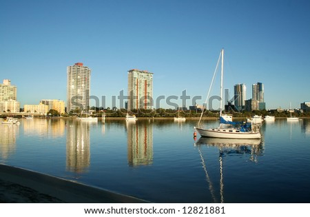 Southport on the Gold Coast Australia seen across the Nerang River from Main Beach at dawn. - stock photo